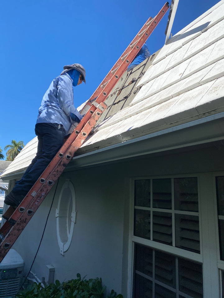 Fort Lauderdale, FL - Roof repair in Fort Lauderdale removing roof tiles installing new roof tiles after rotten wood replacement