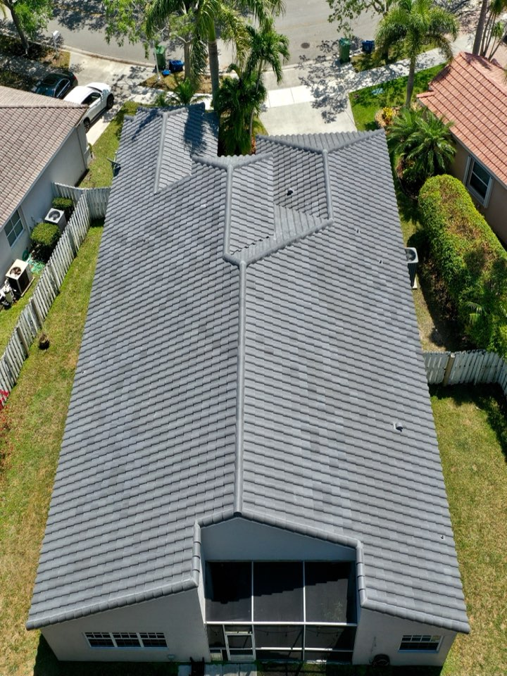 Weston, FL - Tile reroof is completed in Weston, FL by Mike Wilde and Earl Johnston Roofing