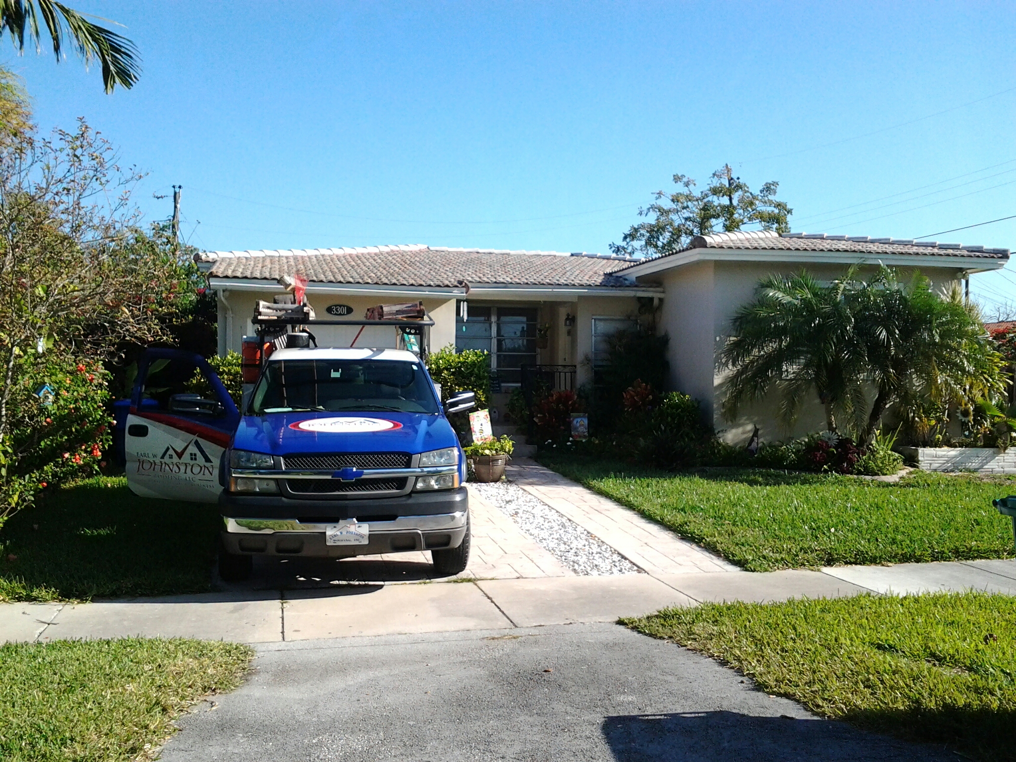 North Miami, FL - Tile roof repair in the city of miami fl this repair is being done by Earl w Johnston roofing company Jos? end Walter are you repair technicians