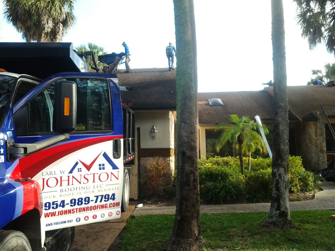 Coral Springs, FL - Starting a 40sq shingle reroof in coral springs,by Earl W. JOHNSTON ROOFING.