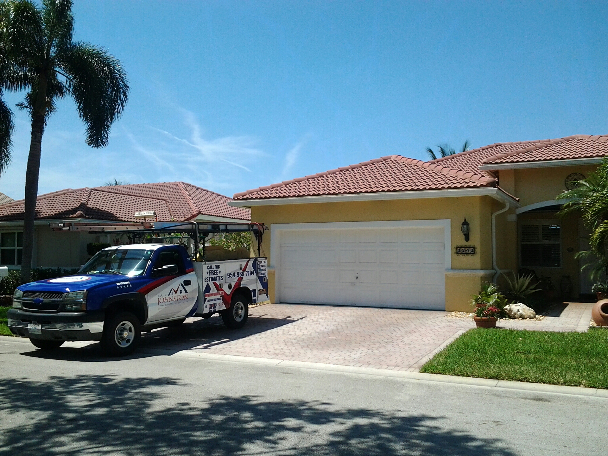 Fort Lauderdale, FL - Tile roof repair in the city of fort Lauderdale fl this repair is being done by Earl w Johnston roofing company Jos? end Walter are you repair technicians