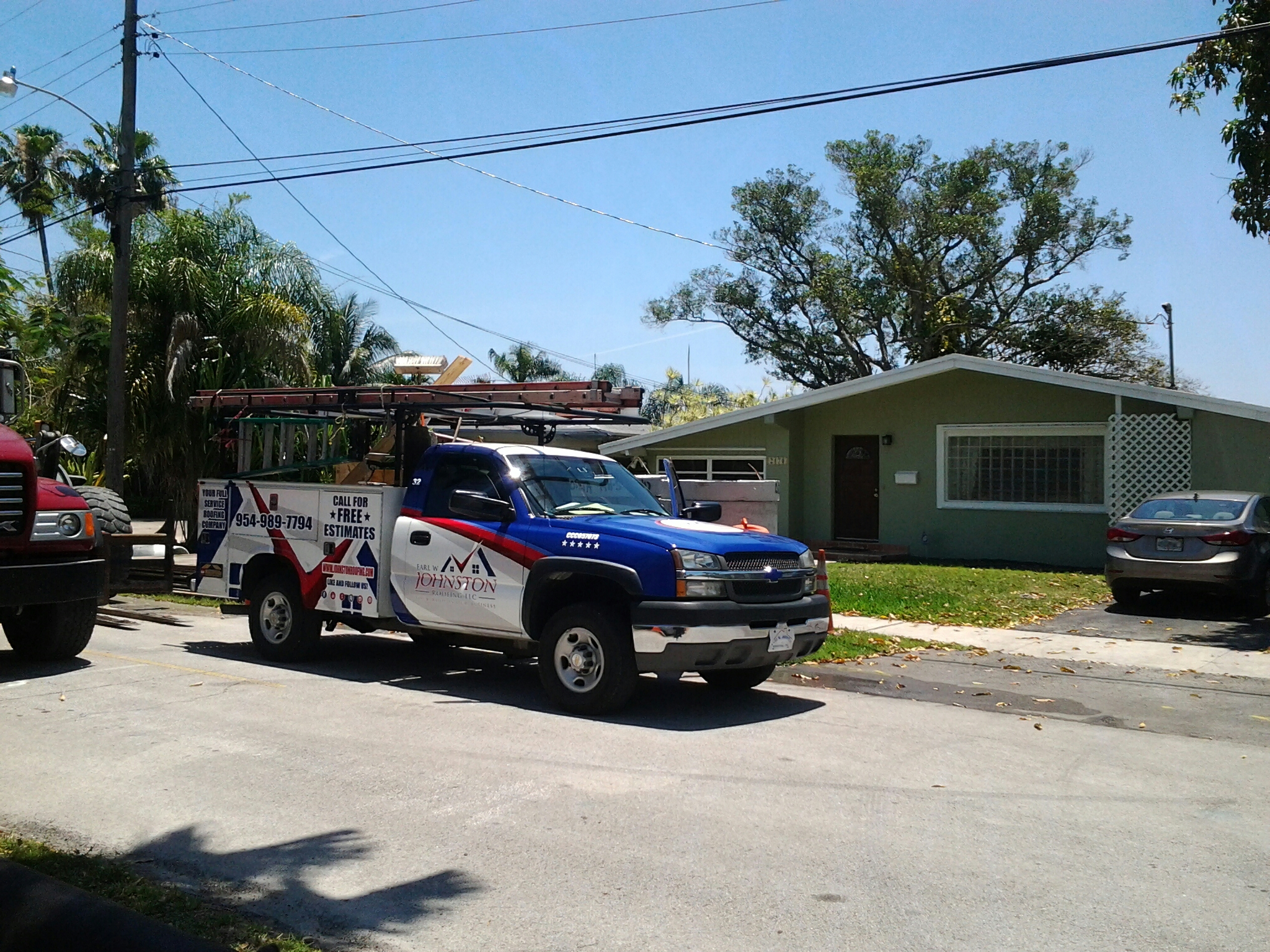 Miami, FL - Shingles roof repair in the city of north miami fl this repair is being done by Earl w Johnston roofing company Jos? end Walter are you repair technicians