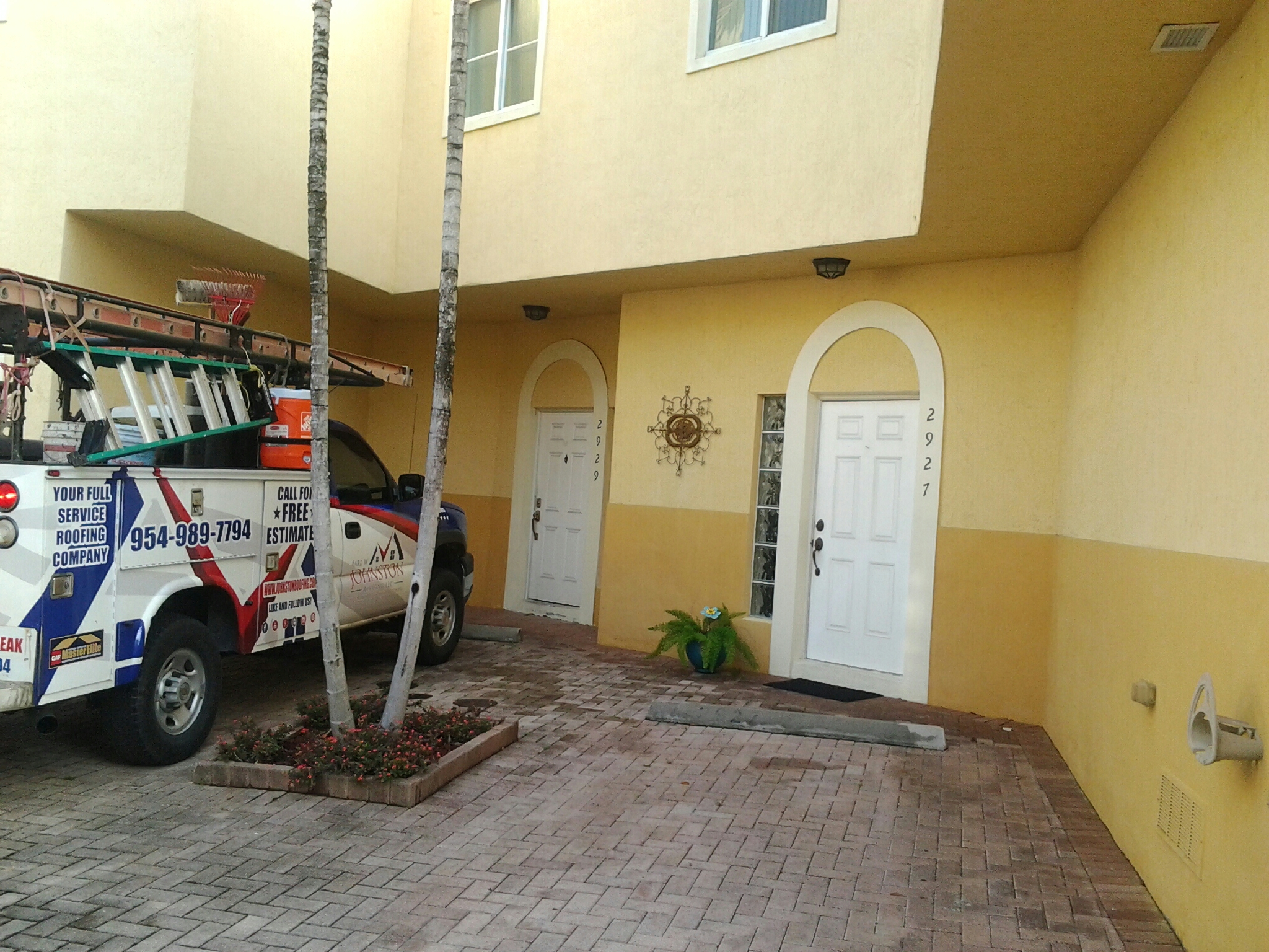 Fort Lauderdale, FL - Flat roof repair in the city of fort Lauderdale fl this repair is being done by Earl w Johnston roofing company Jos? end Walter are you repair technicians