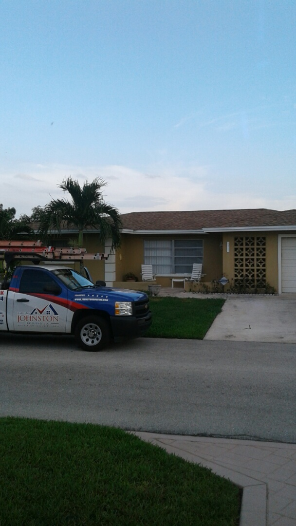 Tamarac, FL - Finished gaf timberline shingle and flat roof by earl w Johnston roofing llc