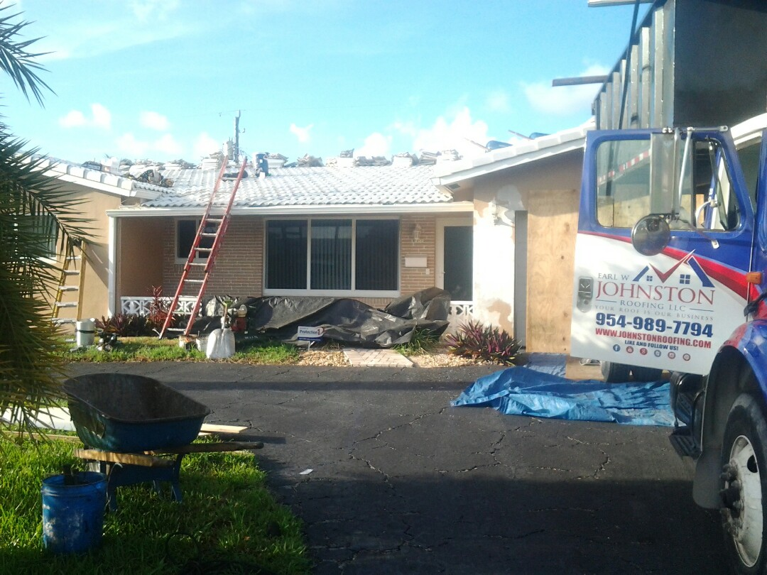 Fort Lauderdale, FL - Starting a 26sq tile reroof in Fort Lauderdale, by Earl W. JOHNSTON ROOFING.