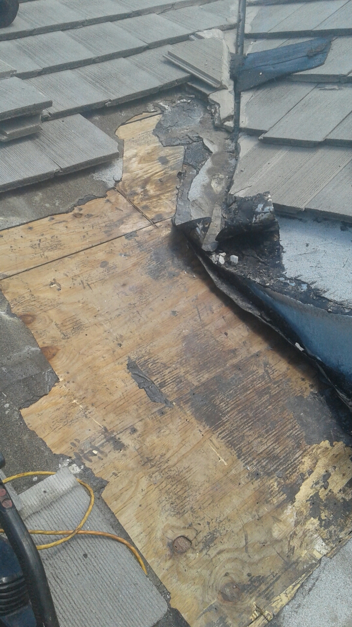Weston, FL - Mike and Earl Johnston roofing doing a tile repair. Leak located