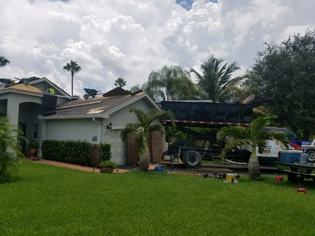 Weston, FL - Tile reroof is under way in Davie, FL