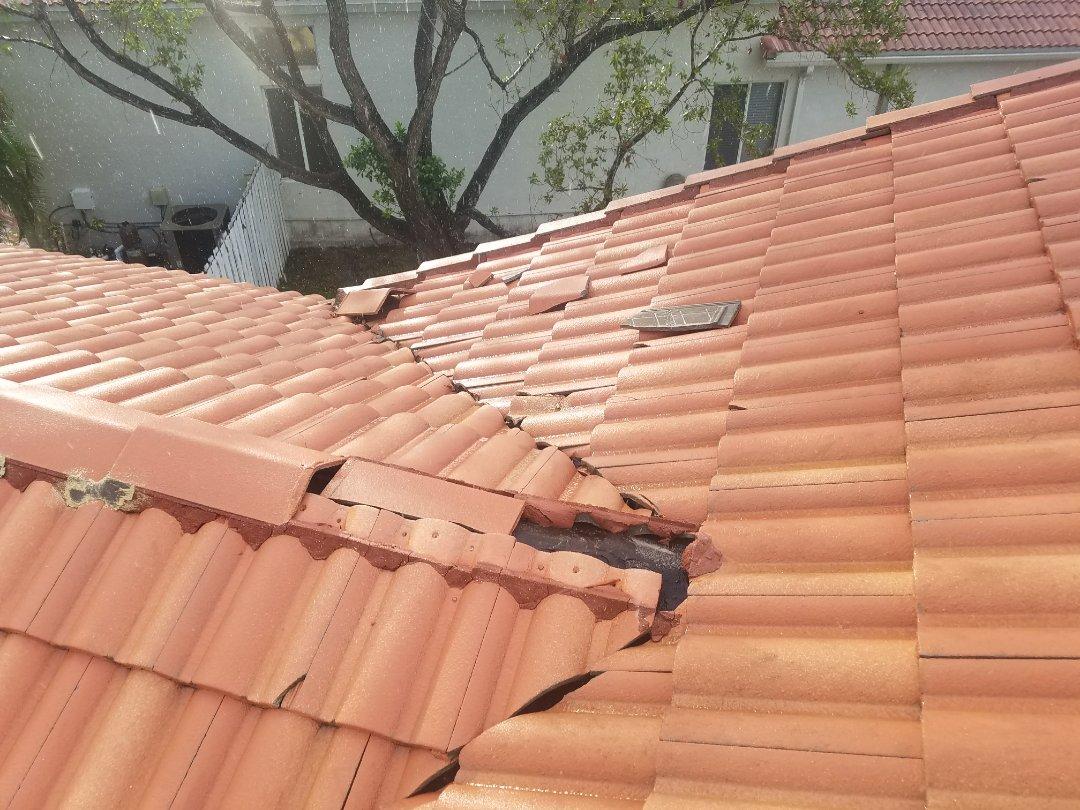 Weston, FL - Hurricane Irma roof damage in Weston, FLReroofRoof leak
