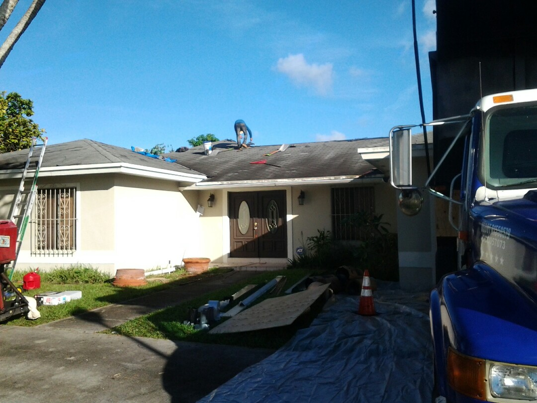 Hialeah, FL - Starting a 20sq shingle reroof in Miami, by Earl W. JOHNSTON ROOFING.
