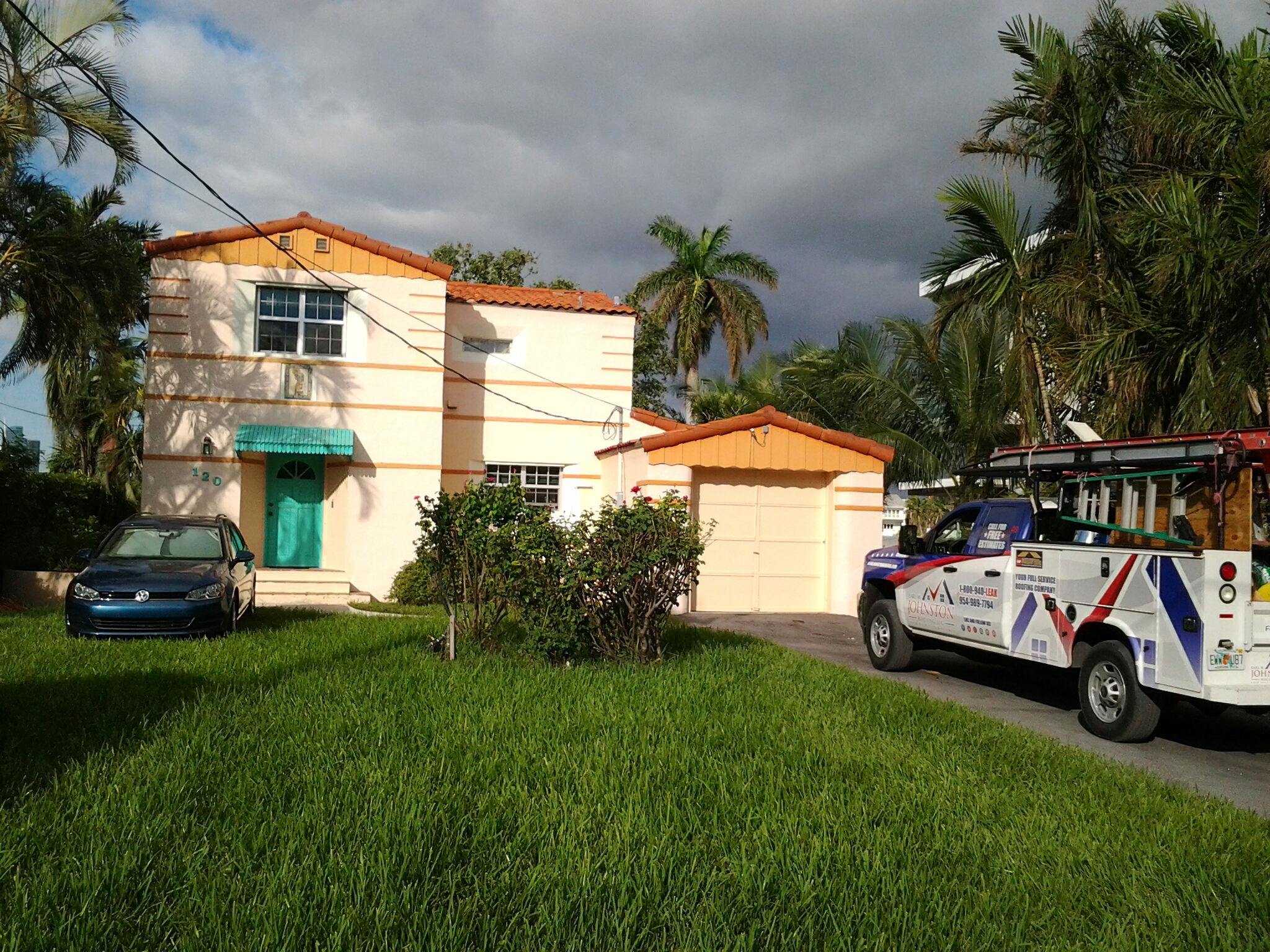 Miami Beach, FL - Tile roof repair in the city of miami beach fl this repair is being done by Earl w Johnston roofing company Jos? end Brandon are you repair technicians