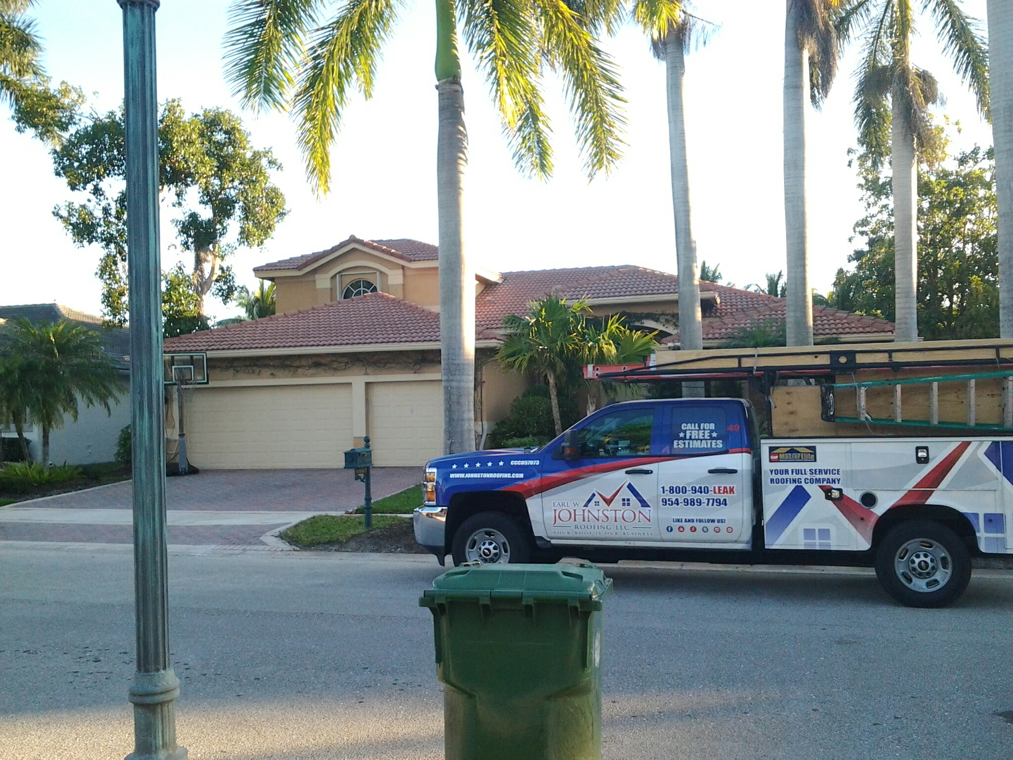 Weston, FL - Tile roof repair in the city of weston fl this repair is being done by Earl w Johnston roofing company Jos? end Duane are you repair technicians
