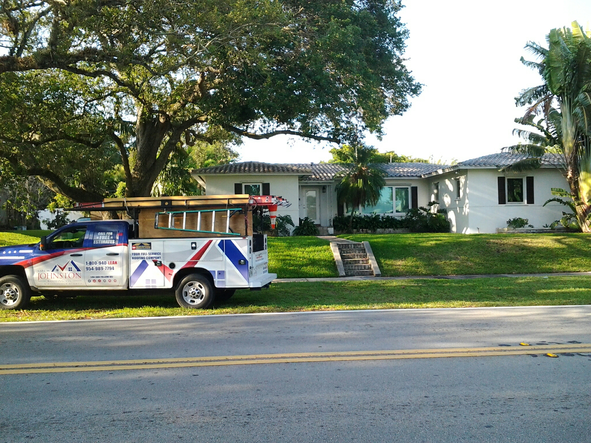 Miami Shores, FL - Tile roof repair in the city of miami shore fl this repair is being done by Earl w Johnston roofing company Jos? end Duane are you repair technicians
