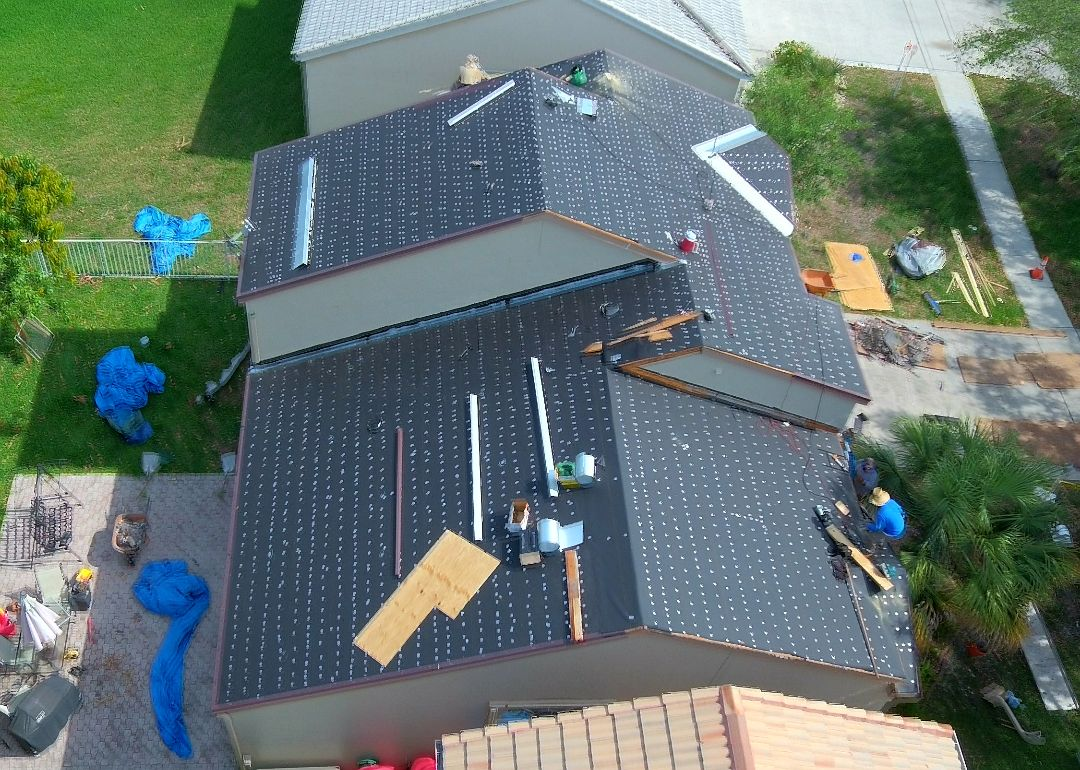 Hollywood, FL - Tile roof replacement started today in Cooper City, FL