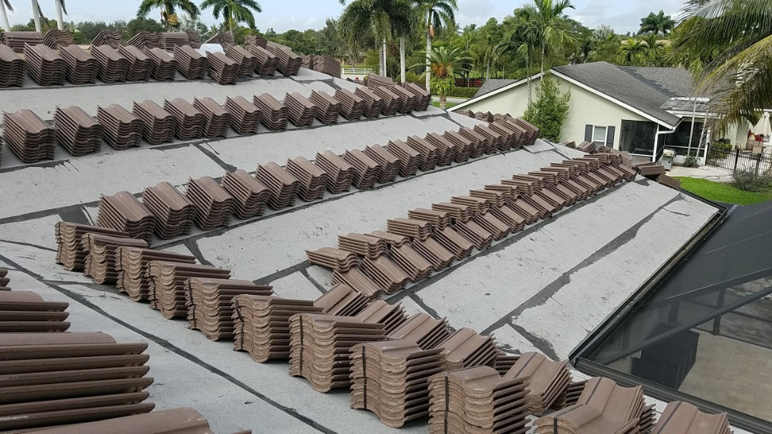 Fort Lauderdale, FL - Eagle Capistrano tile re-roof is loaded and ready for installation in Davie, FL