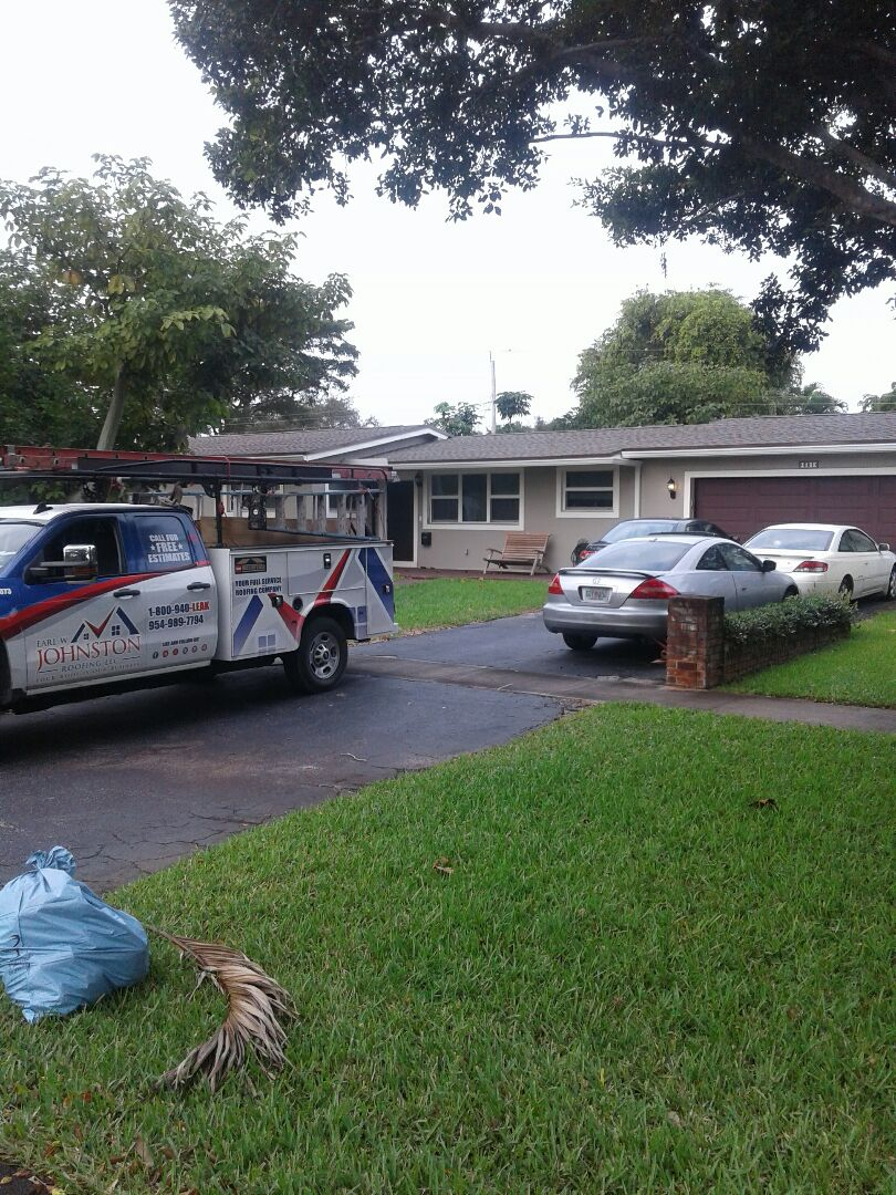 Plantation, FL - Roof repair in the city of Plantation Florida this repair is being done by Earl W Johnston roofing company Tony and Rick are your repair technicians