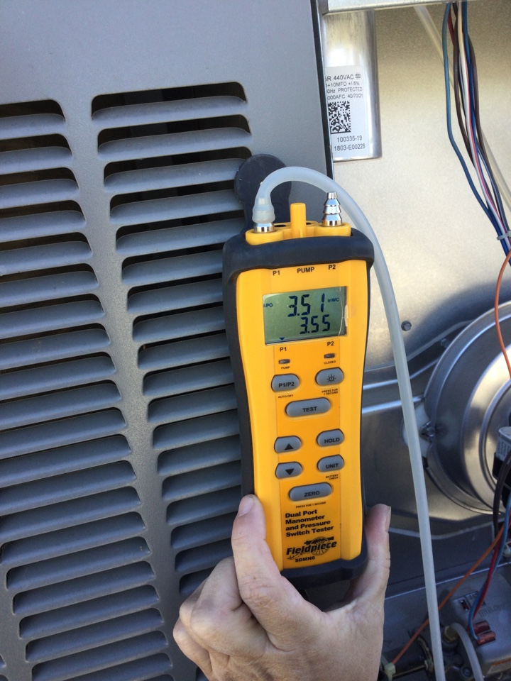 Dos Palos, CA - Out to perform fall heating inspection. Tested gas output. Tested blower amps blower capacitor tested inducer motor amps inducer capacitor. Inspected ignition inspected and cleaned flame sensor.