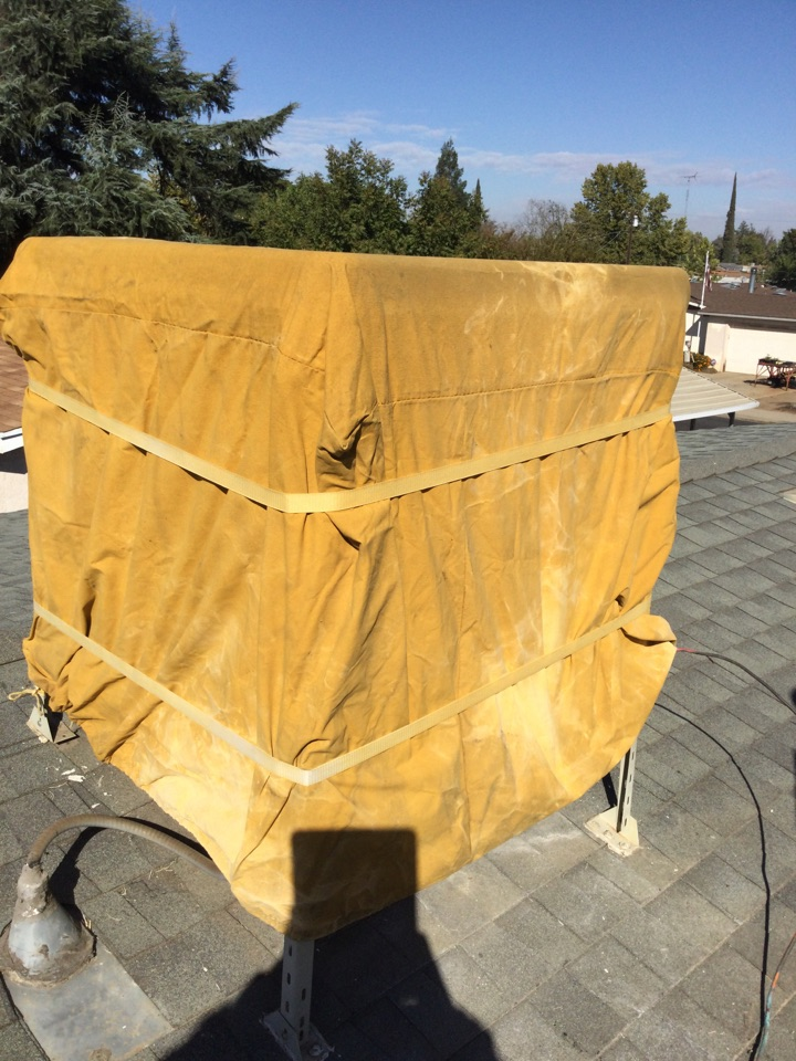 Merced, CA - Out to weatherize evaporated cooler turned off water drained cooler placed cover on cooler
