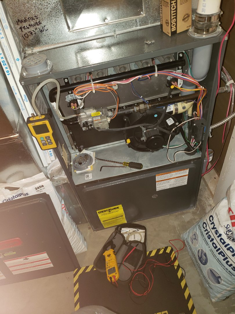 Luseland, SK - Just completed a full system Rejuvenation on this beautiful Amana furnace.  Did a Plumbing Evaluation as well.