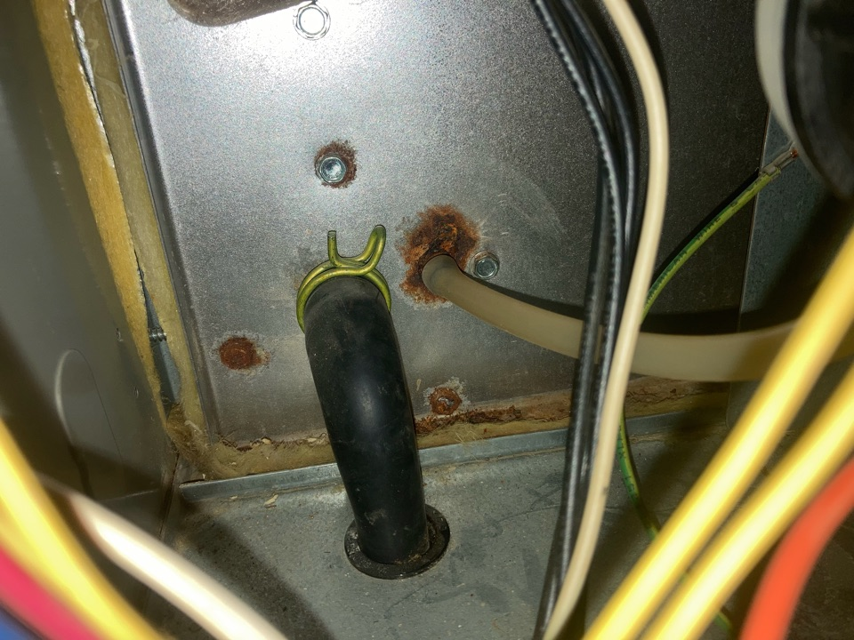 Lloydminster, AB - Service furnace and inspect heat exchanger thoroughly as there is a condensate leak.