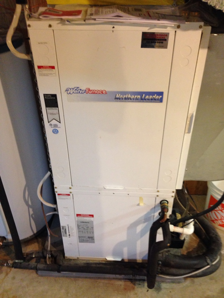 Creemore, ON - maintenance on water furnace , geothermal unit