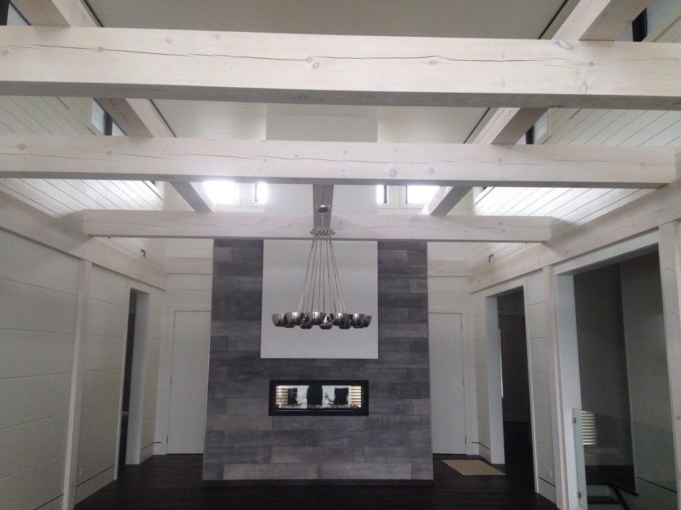 Napoleon see through linear fireplace installation