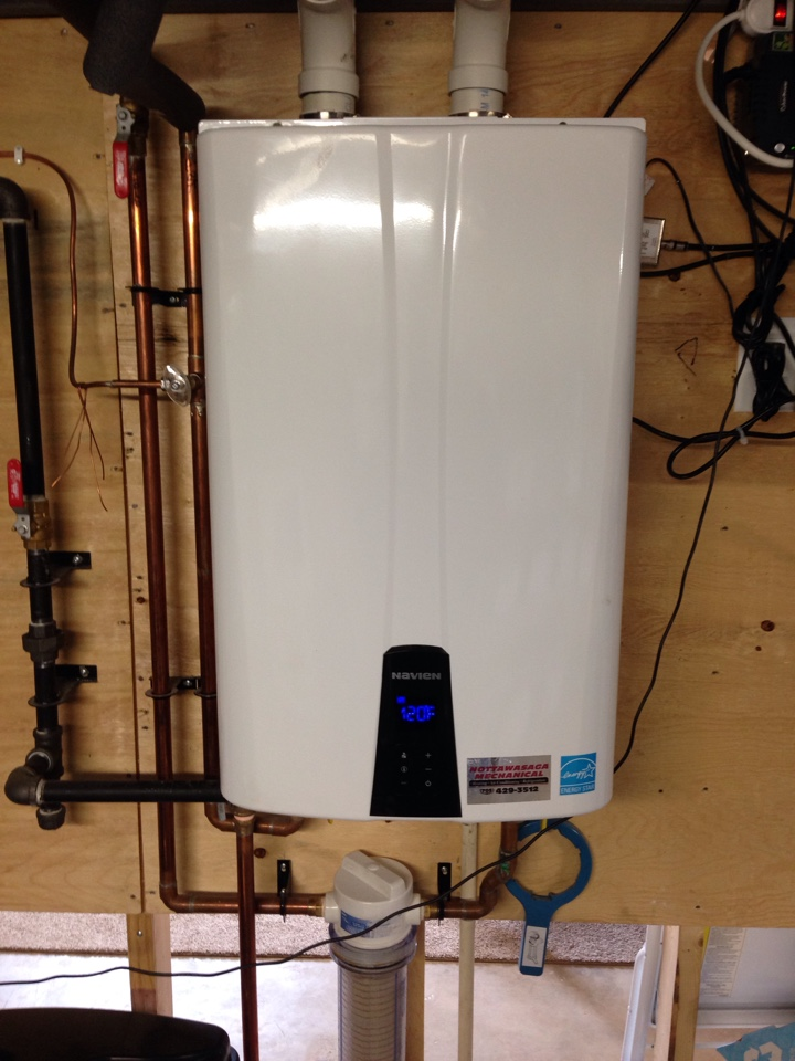 Clean and service on navien tankless propane water heater, York propane furnace and heat pump,