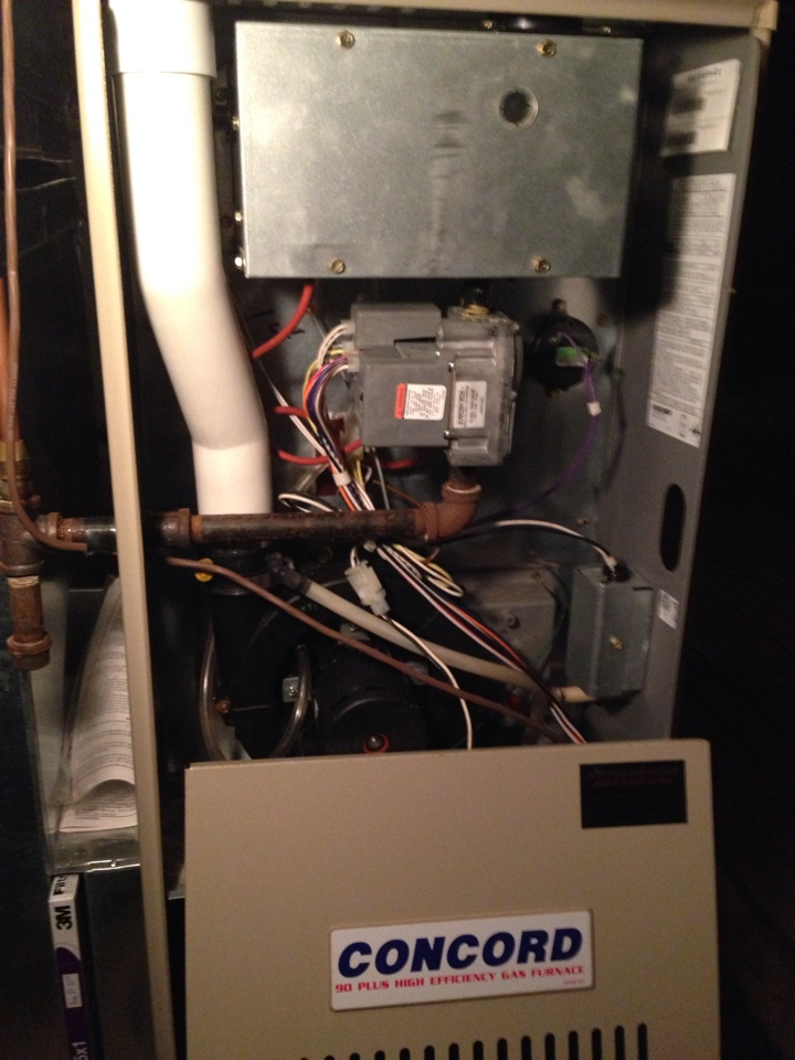 Blue Mountains, ON - Furnace maintenance / inspection on Concord high efficiency gas furnace
