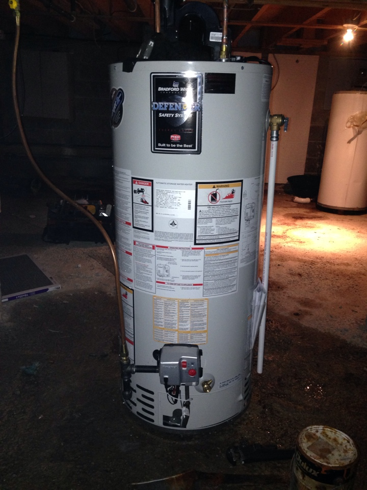 Blue Mountains, ON - Replaced leaking gas hot water tank with new Bradford White gas hot water heater.