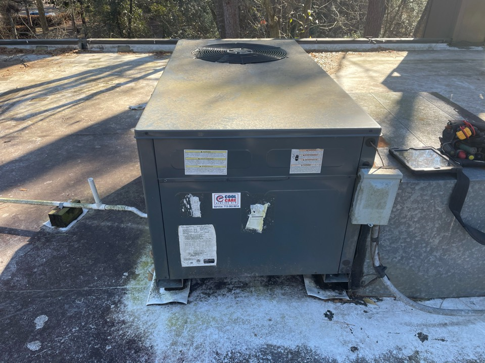 Houston, TX - Completed fall preventative maintenance on Goodman rooftop unit in Bunker Hill Village