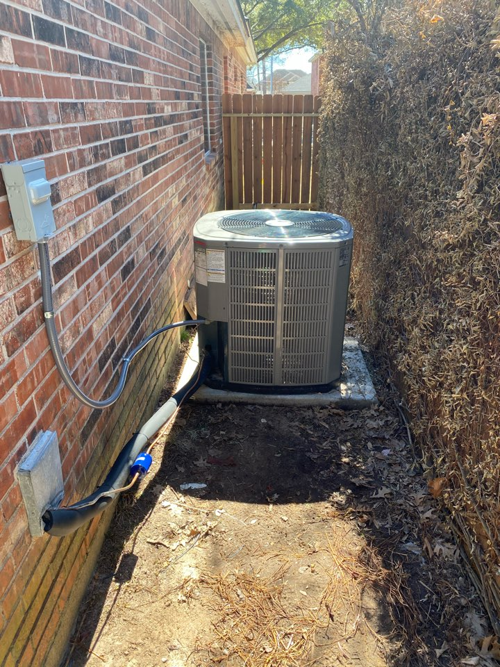 Houston, TX - Relocated the American Standard condenser to a new location because the homeowner is getting a pool installed in Hillshire Village, TX