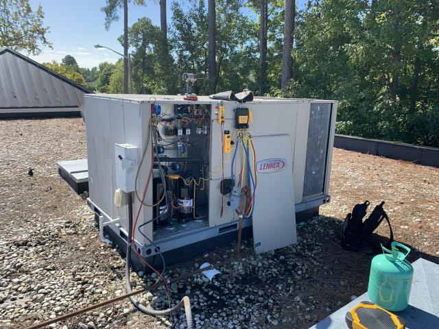 Greenville, NC - Added one pound of R-22 refrigerant to compressor number one and two pounds of R-22 refrigerant to compressor number two.
