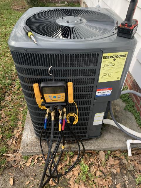 Winterville, NC - Preventive Maintenance on a Goodman split system heat pump.