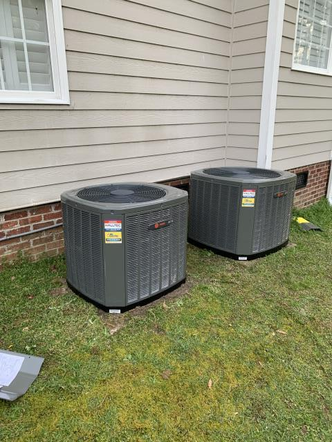 Zebulon, NC - Installed Trane 2 ton split heat pump system, Trane 3 ton split heat pump system, new line set, and added 4 dampers.