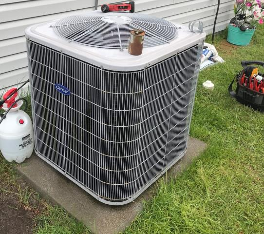 Maple Hill, NC - Serviced and did minor repairs on a Carrier split system heat pump,