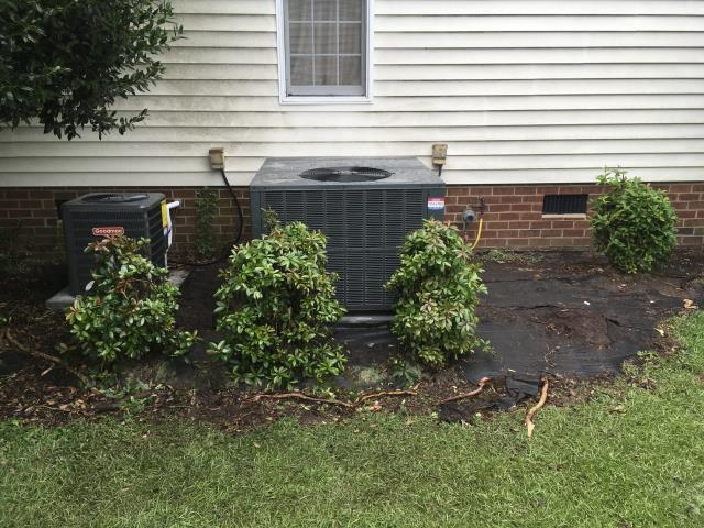 Winterville, NC - Furnish and installed Goodman 14 SEER 2 ton Gas package system for upstairs and 1.5 ton Goodman A/C with Furnace system for downstairs.