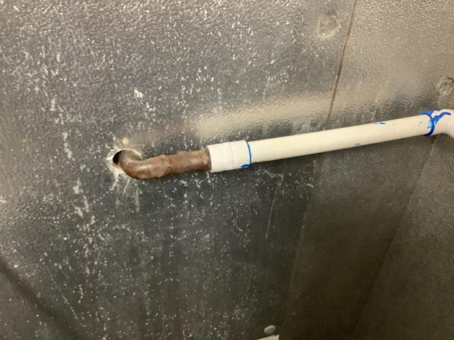Made minor repairs with pvc pipe to drain line in walk-in cooler.