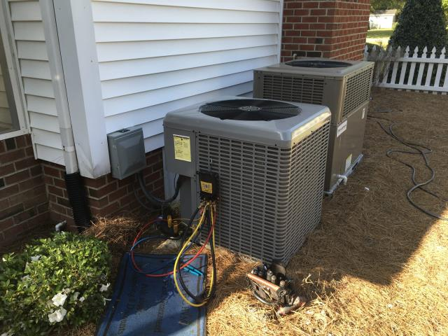 Greenville, NC - Performed preventative maintenance on one split heat pump system and one gas package system.