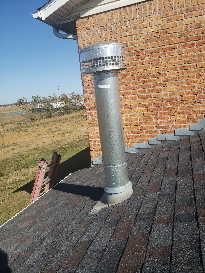 """Replaced an 8"""" vent on a pool heater at a motel in Big Cabin Ok."""