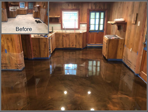Albany, GA - Professional, courteous, and masterful. Floor Warriors is truly an artistic concrete company!!! They came out and remodeled our cabin's kitchen with a unique metallic marble design! We fell in love with this look so much, we requested to have it flow into the living room as well! Steve was patient and extremely polite even when we added to his workload, he was more than happy to help!!  I can, without hesitation, recommend Floor Warriors to anyone wanting to remodel their floors!!