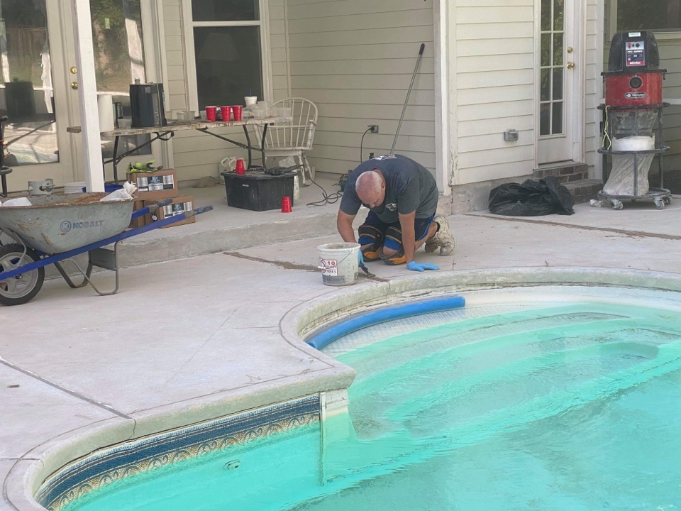 Tallahassee, FL - We finished filling the control joints with our flexible joint filler over the weekend on this concrete pool deck project.