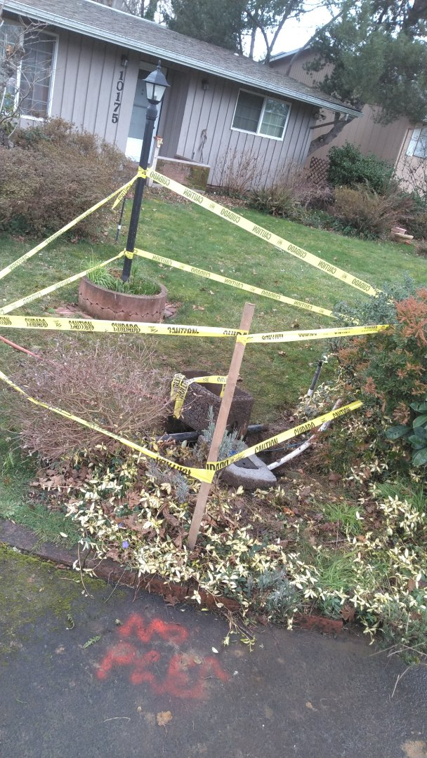 Tigard, OR - Drilling 1-in PEX pipe from water meter box to inside crawl where water service ties in. Tigard.