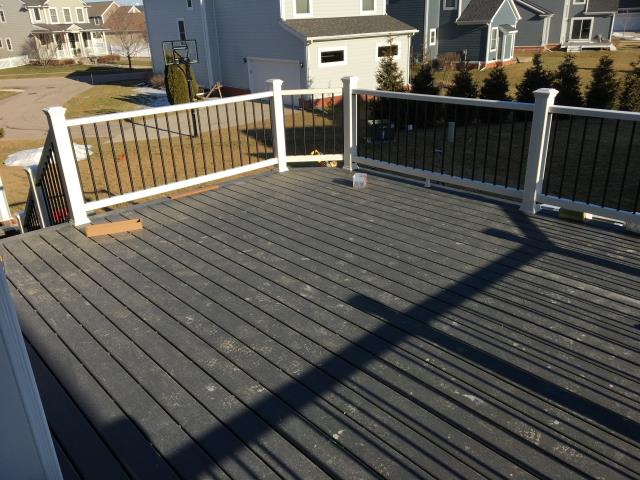 Canton, MI - Winter cant stop us! Continuing the construction of a 300 sq ft Trex deck through the cold!