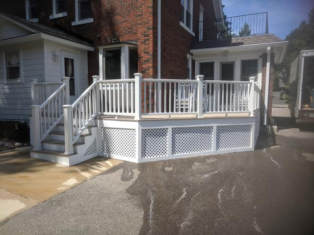 Northville, MI - Just finished this beauty up for the rectory at Our Lady of Victory in Northville MI. We enlarged the small deck they had. We were able to keep what was existing and enlarge the deck to accommodate more than one person. Coffee and good conversation with extra room, you cant ask for anything more than that on a deck. Happy we could do the project!