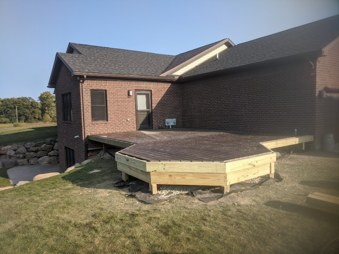 Milford Charter Township, MI - The start of a covered deck 2 days decked and framed