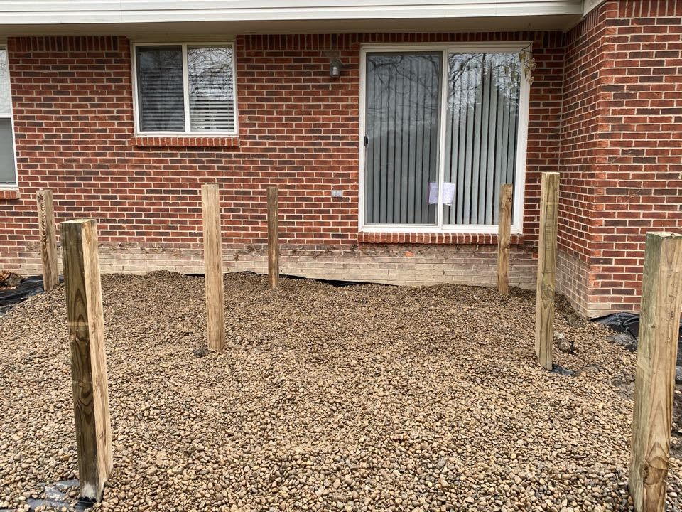 Post set and weed barrier and gravel put in! Next step is getting this thing framed, and ready for a Trex deck!