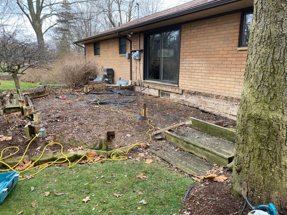 Livonia, MI - Demolition on this old deck! Getting ready for something new and improved! Trex Deck coming soon!