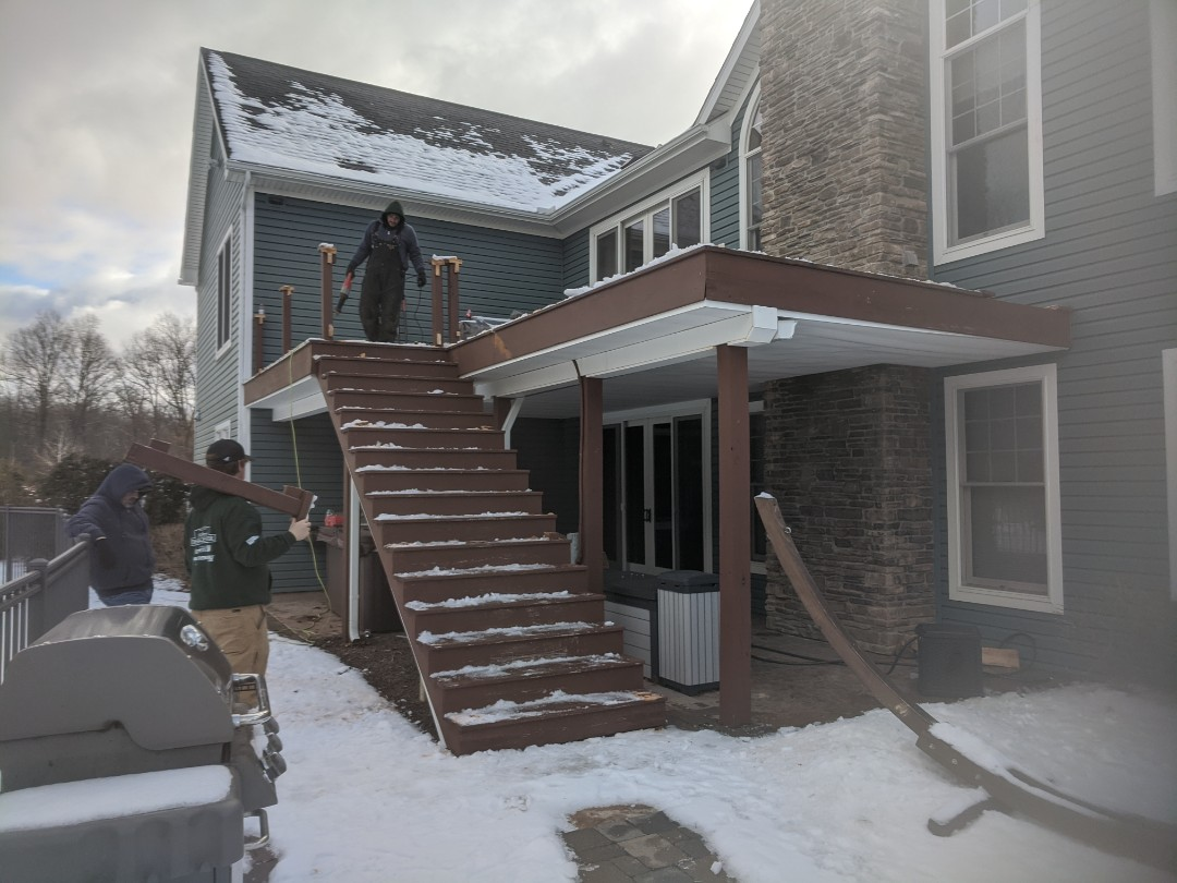 Howell, MI - Start of a new project tearoff old wood deck with a new trex and aluminum rail