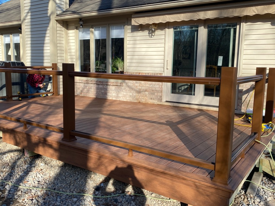 Plymouth, MI - Making some good progress on this Trex Tiki Torch deck in Canton. Finally some beautiful weather to build decks in! Finished product coming tomorrow!