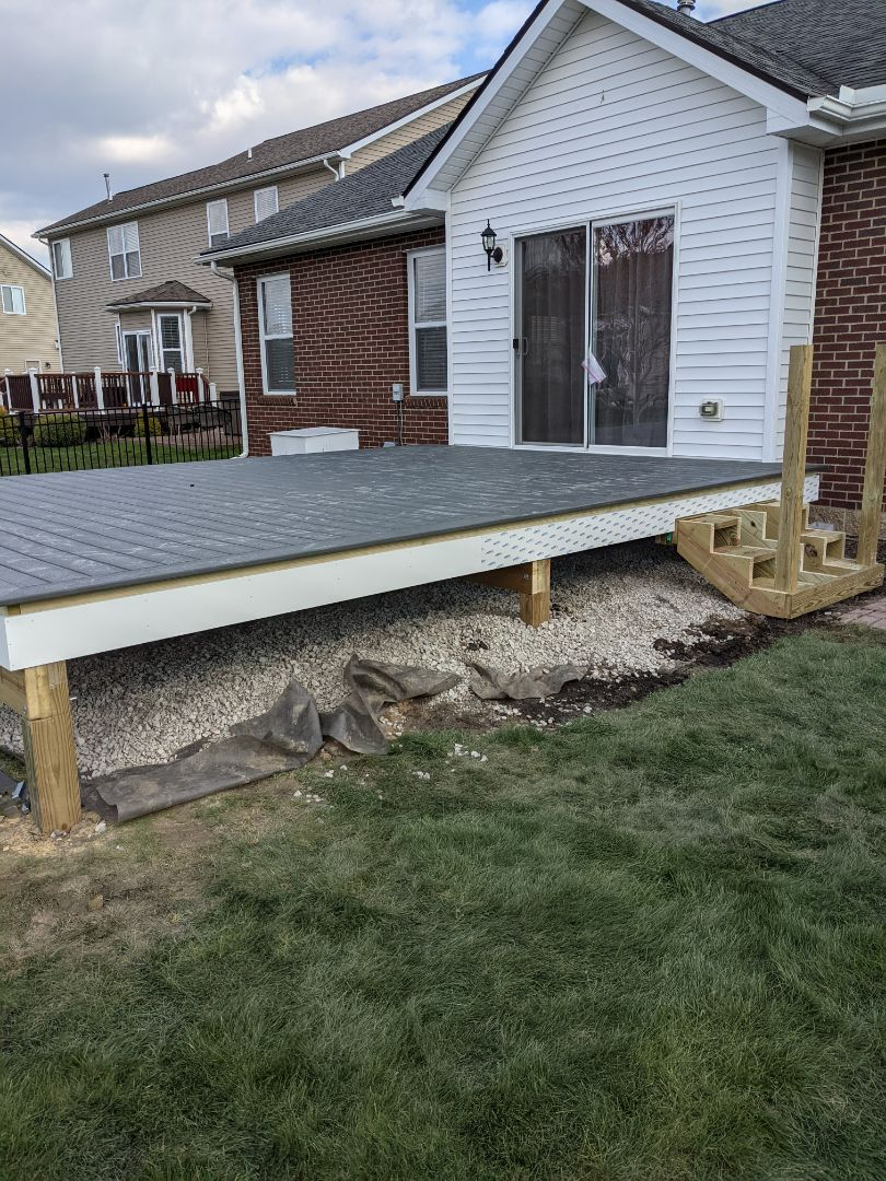 Flat Rock, MI - Day one deck framed and stair ready to go clam shell with azek trim  next is roof here in flatrock