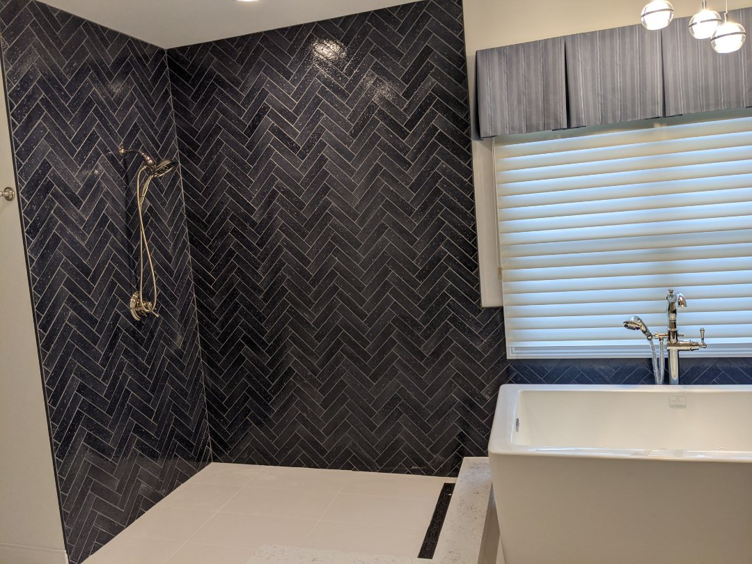 Ann Arbor, MI - A beautiful bathroom redo with stand-up shower and standalone jacuzzi tub in Ann arbor